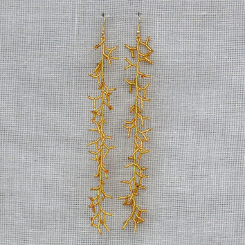 Very Long  Earrings.  Beaded  Dangle Gold  Earrings. Shoulder Dusters. Beadwork