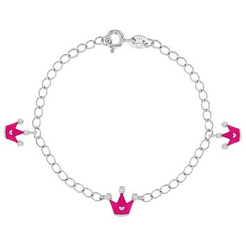 925 Sterling Silver Clear CZ Pink Enamel Crown Princess Bracelet for Girls 6""