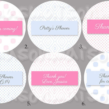"Baby Shower Stickers Labels - 2"" & 2.5"" round tags"