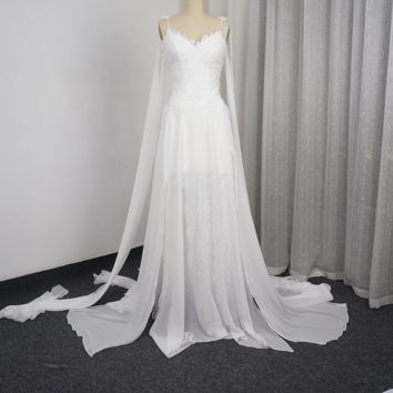 Beach Wedding Dresses A line Lace Chiffon Backless Short Front Long Back Sexy Bridal Gown