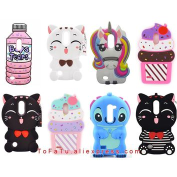 For LG K10 2017 Case Luxury Cute Silicone Stitch Lucky Cat Unicorn Sulley Rabbit Phone Cover Cases For LG K20 Plus K20 V Case
