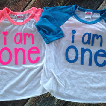 Birthday Shirt I am One Birthday Shirt I am Birthday Shirt Any Age Neon Colors Red Navy Black Birthday Raglan I am this many shirt Birthday