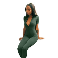 Army Green Deep-V Neck Short Sleeves Jumpsuit