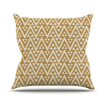 "Amanda Lane ""Geo Tribal Mustard"" Yellow Aztec Outdoor Throw Pillow"