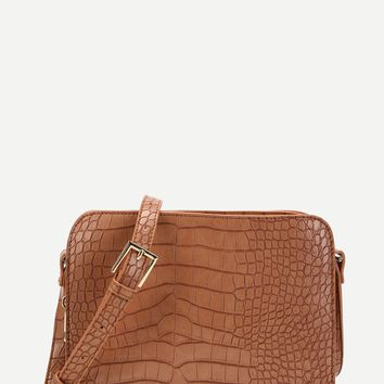 Crocodile Pattern Crossbody Bag