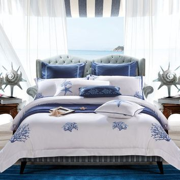 Coastal Bedding. Gorgeous Egyptian Cotton and Silk Bedding Set. White Embroidered Hotel Duvet Cover