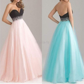 Stylish Women Sexy Bridesmaid Strapless Organza Party Wedding Maxi Dress [7977987591]