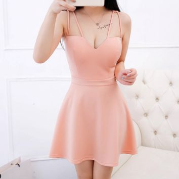 Hot sale fashion sexy double straps pure color show thin dress