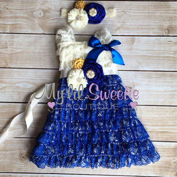 Ivory, cobalt blue, yellow 3pc set , headband, sash, Lace dress, baby girl outfit, special occasion dress, toddler dress, girls dress,