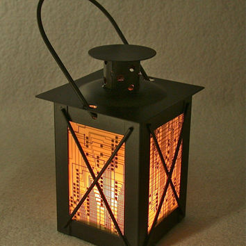 RECYCLED CIRCUIT BOARD Geek Lantern Vintage Black Metal Candle Holder