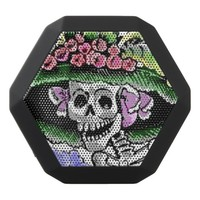 Funny Skeleton with funny hat with flower Black Bluetooth Speaker