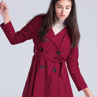 Red Lapel Belted Waist Trench Coat