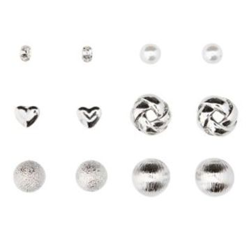 Silver Round Silver Studs - 6 Pack by Charlotte Russe