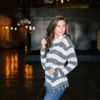 Distressed Striped Sweater- Black - Thirty One Boutique
