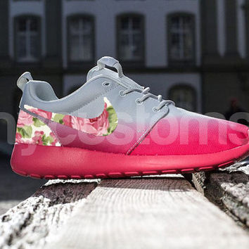 save off e58fc d5294 Nike Roshe Run Geranium Pink Grey Ombre Rose Garden Floral Print Custom  Womens