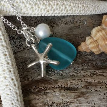 Handmade in Hawaii, Pacific blue blue sea glass necklace,Sea star charm ,Natural  pearl, 925 sterling silver chain, gift box