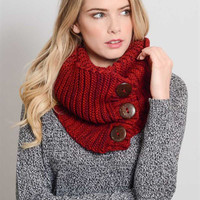 Red Chunky Knit Button Scarf