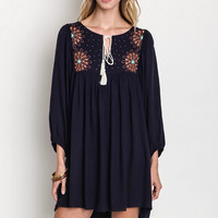 Floral Embroidered Peasant Dress
