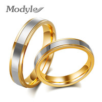 New Fashion Stainless Steel Rings for Lovers Gold-Color Classic Couple Wedding Rings Women Jewelry