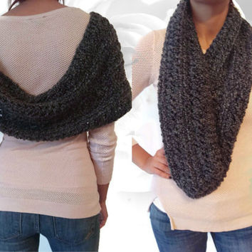 Gray Circle Scarf, Infinity Scarf, Infinity Cowl, Winter Scarf, Multicolor Scarf, Silver Scarf, White Scarf, Gray Scarf, Chunky Scarf, Knit