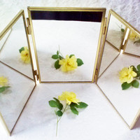 Tri Fold Three Way Sided Gold Mirror Vintage Travel Hanging Standing w Hooks Gold Brass Frame Barber Boudoir Bath Bed Beauty Home Decor