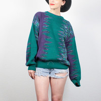 Vintage 90s Sweater Teal Green Purple Boyfriend Sweater Boho Knit Pullover 1990s Sweater Soft Grunge Sweater Hipster Jumper L Extra Large XL