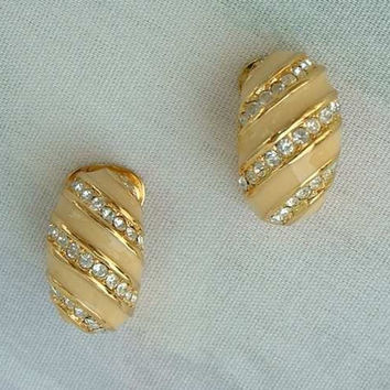Christian DIOR Peach Enamel Crystal Clip Huggie Earrings Designer Jewelry
