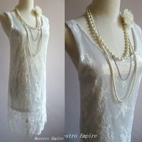 White Lace Art Deco 1920s Flapper Sheer Sequin Slip Gatsby Victorian Dress