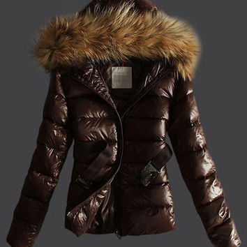 Raccoon Fur Hooded Thick Short Down Belted Jacket