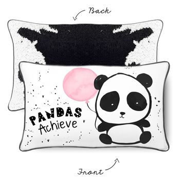 ACHIEVE Panda Pillow w/ Reversible Bold Black and White Sequins