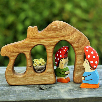 Gnomes in the house Montessori toys Nature table Wooden Figurines Woodland set puzzle Waldorf Toys for toddlers Handmade Birthday gift