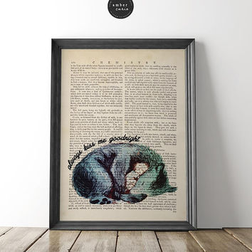 Always Kiss Me, Goodnight Lullaby, Book Page Print, Kid Room Poster, Nursery Decor, Kiss Me, Nursery Rhyme Decor, Baby Shower Gift, Unframed