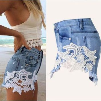 CREYONQK WOMEN'S DENIM JEANS RIVET HOLE RIPPED CASUAL SHORTS T23