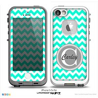 The Teal Green & White Chevron Monogram Name Script Skin Gray v1 Skin for the iPhone 5-5s Fre LifeProof Case