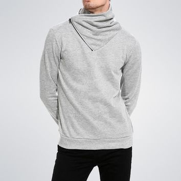 Cowl neck Zip Turtleneck hip hop hoodie sweatshirt