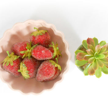 Fake Strawberries Fruit Artificial Summer Strawberry Set of 7