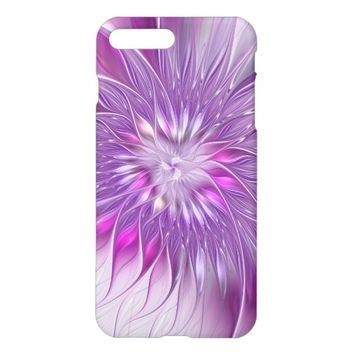 Pink Purple Flower Passion Abstract Fractal Art iPhone 7 Plus Case