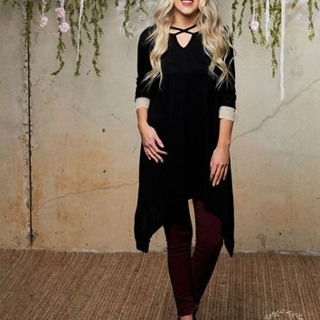 Black V-Neck Shark Bite Tunic with Lace Trim Sleeve