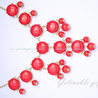 Red Bubble Necklace, Bubble Bib Necklace, beadwork statement  necklace,Bubble Jewelry NBB03