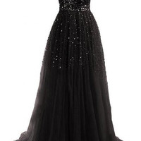 Black Strapless Sequined Maxi Dress
