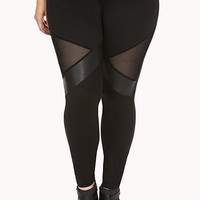 Daring Faux Leather Mesh Leggings