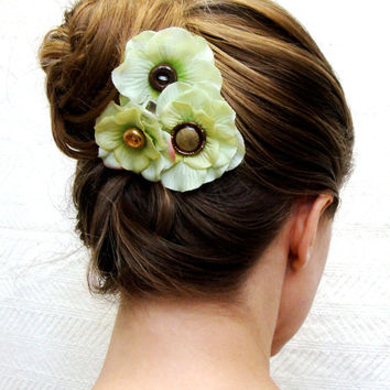 "Small Flower Hair Clips, Pale Green Hydrangea Fascinator, Vintage Gold Button, Set of 3, Upcycled Hair Accessories   - ""Cheek to Cheek"""