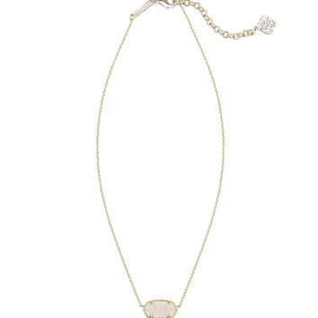 Kendra Scott Elisa Gold Pendant Necklace in Iridescent Drusy 15 inch w/ 2 inch extender