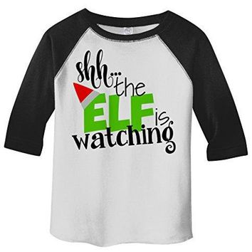 Shirts By Sarah Toddler Funny Santa Elf Is Watching 3/4 Sleeve Raglan Christmas T-Shirt