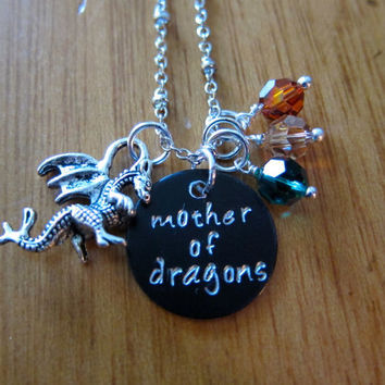 "Game of Thrones Inspired ""Mother of Dragons"" Necklace. Daenerys Targaryen. Dragon's Eggs. Iridescent Swarovski crystals."