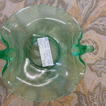 Glass - Green Vintage Glass Bowl with Birds $25