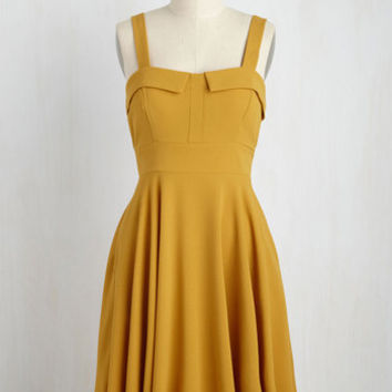 Pull Up a Cherry Dress in Marigold | Mod Retro Vintage Dresses | ModCloth.com