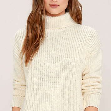 Rhythm Snowflake Cream Turtleneck Sweater