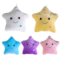 Decorative Pillows Colorful LED Flash Lucky Star Luminous Pillow Plush Stuffed Toys Best Gift for Girls Kids as a Birthday Gift