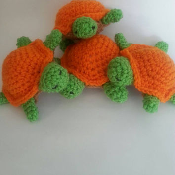 Crochet Plush Amigurumi Sea Turtle Toy in Orange and Green